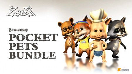 iClone Creature Base Pack - Pocket Pets Bundle: Foxy, Piggy, Raccoon, Teddy