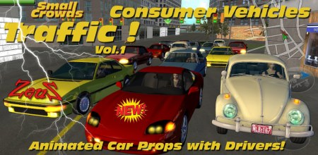 iClone Props Pack - Small Crowds Traffic Vol.1 Consumer Vehicles