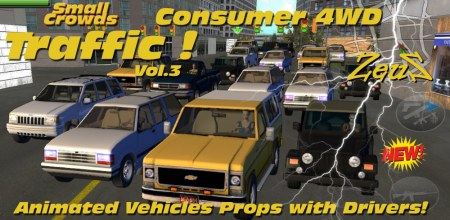 iClone Props Pack - Small Crowds Traffic Vol.3 Consumer 4WD
