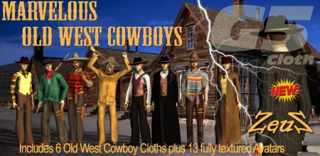 iClone Character Pack - G5 Cloth Marvelous Old West Cowboys COMBO
