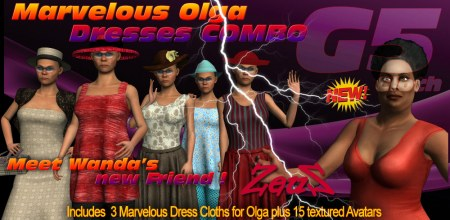 iClone Character Pack - G5 Cloth Marvelous Olga Dresses COMBO