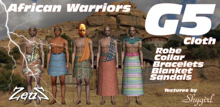 iClone Character Pack - G5 Cloth African Tribes Male Warriors