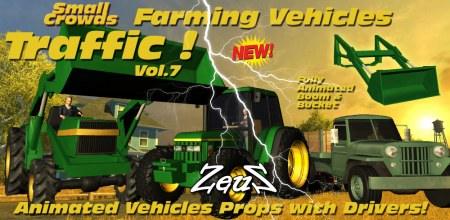 iClone Props Pack - Small Crowds Traffic Vol.7 Farming Vehicles