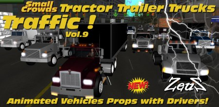 iClone Props Pack - Small Crowds Traffic Vol.9 Tractor Trailer Trucks